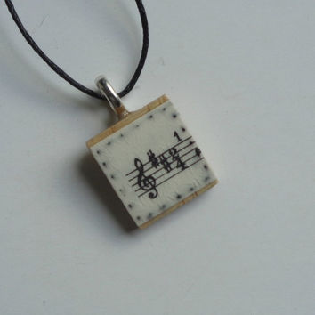 Sheet Music upcycled pendant, Treble clef necklace, Music lover's gift, Musician's jewellery, Music student, Singer gift, Piano teacher