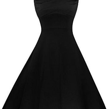 Fancyskin Womens 1950s Vintage Square Neck CapSleeve ALine Flared Solid Party Swing Dress