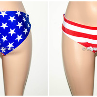 American Flag Hips Bikini Bottom, Full Coverage Bikini Bottoms, Fully Lined Spandex Swim Suit Bottom