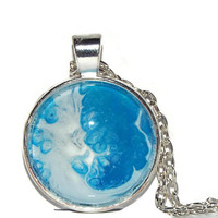 """Blue Necklace, """"Glacier"""", Free shipping, One of a Kind, Necklace Pendant, Jewellry, Blue and White Jewelry, Unique necklace, Hand painted"""