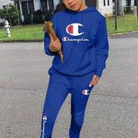 Champion Tide brand women's fashion wild sports suit two-piece Blue
