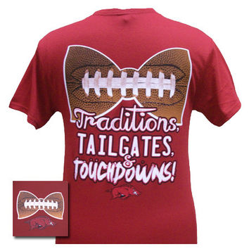 Arkansas Razorbacks Hogs Traditions,Tailgates and Touchdowns Girlie Bright T Shirt