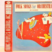 """Vintage Young People's Records 'Folk Songs for Orchestra' by Liadow. 1949 Children's 78 RPM. Red and Blue Album Art.10"""" Retro Record No 405."""