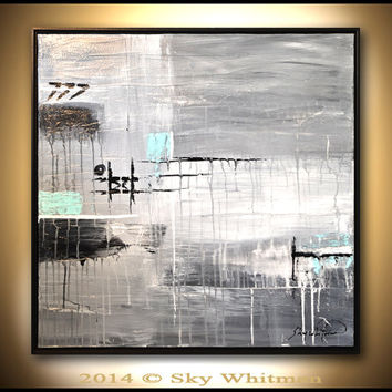 Framed Artwork Original Painting Abstract Art Modern Wall Decor Oil Painting Gray Urban Edgy High Gloss Contemporary art by Sky Whitman