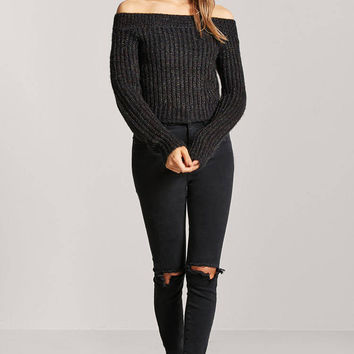 Multicolor Marled Off-the-Shoulder Sweater