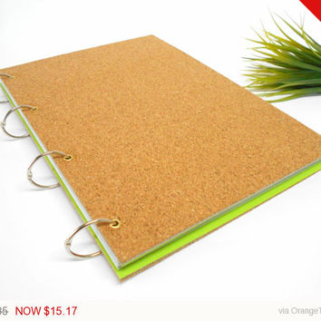 Sale - Holidays gift Cork hardcover sketchbook journal with 200 pages- ring rustic blank sketchbook- personilized journal
