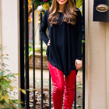 """Bae"" Red Sequin Leggings- In Stock"
