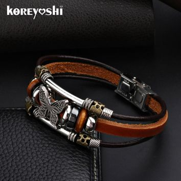 Butterfly Bracelets 2016 Hot Sales Hand Made Braided buckle Fashion Style Popular Charm Leather Bracelets Bangles for Men Women