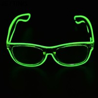 2017 fashion creative el glasses El Wire Neon LED Light Up Shutter Shaped Glow Rave Costume Party DJ Bright Glasses