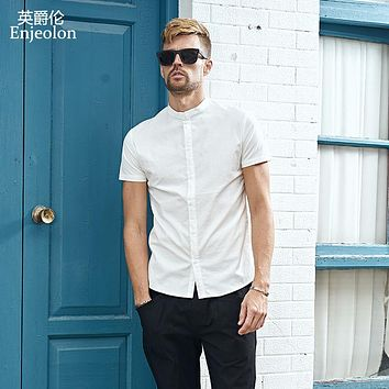 summer short sleeve shirt men solid stand collar shirts cotton clothing male casual for men shirt clothes