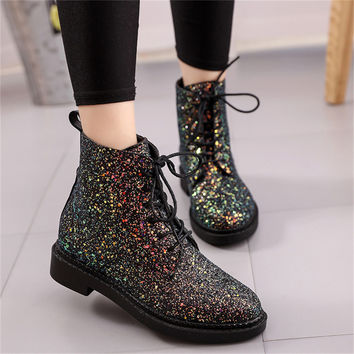 Glitter Lace Up Casual Pink Black White Ankle Boot