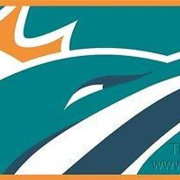 Miami Dolphins Print MEGA Style Deluxe Laser Acrylic License Plate Tag Football