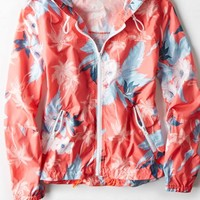 AEO Women's Floral Hooded Windbreaker (Coral Sun)