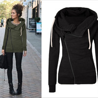 Black Inclined Zipper Closure Drawstring Hoodie
