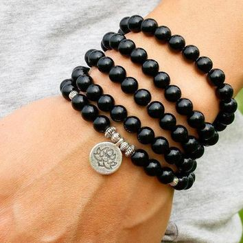 108 Bead Mala Natural Black Onyx 2mm Beads, Lotus Charm, Bracelet, Necklace