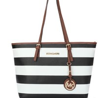 Navy Striped Ladies Shoulder Bag
