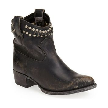 Frye Diana Cut & Studded Leather Short Boot Black, Size 5.5M