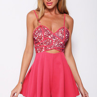 Magenta Spaghetti Strap Embroidered Cutout Pleated Romper
