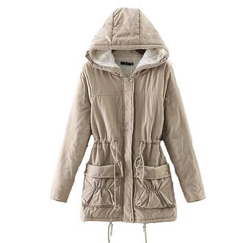 New winter women jackets cotton padded medium long slim hooded parkas casual wadded quilt snow outwear warm overcoat