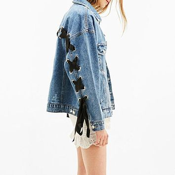 2017 New In Turndown Collar Lace Up Bowknot Women Denim Jacket Fashion Spring Bomber Loose Casual Jean Outwear