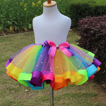 1PC New girls dress baby kids girl dress tutu dress children with diamond rainbow dresses