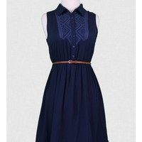Midnight Rendezvous Belted Dress
