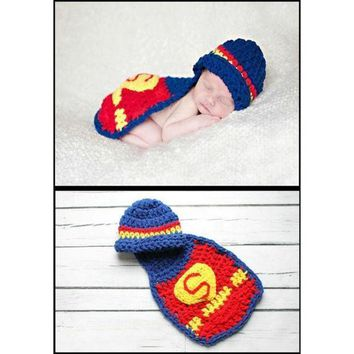 Hand Knitted Suits Newborn Baby Clothes One Hundred Days Photographic Superman Costume Baby Photos (size: 0 Color: Red) = 1945983492