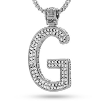 "White Gold Letter ""G"" Necklace"