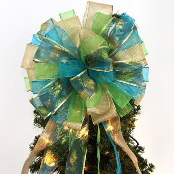 Peacock Sparkle Christmas Tree Topper Bow