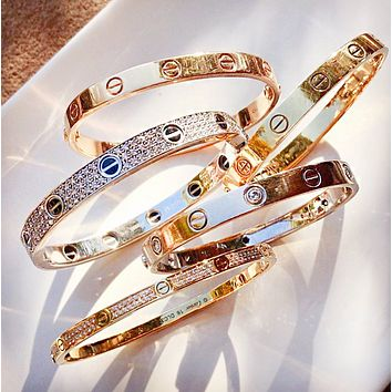 Cartier Trending star with the same titanium steel rose gold bracelet bracelet ring of eternal LOVE couple bracelet jewelry Golden