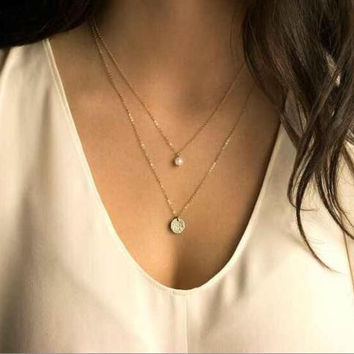 Celebrity Inspired Gold Circle Pearl Pendant Three Layer Necklace