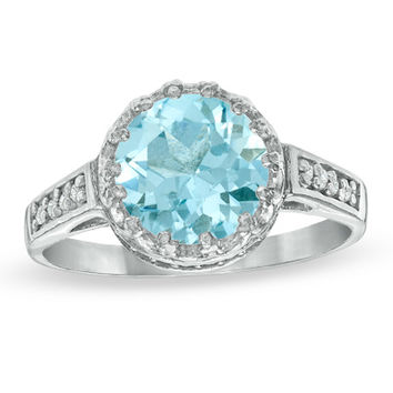 8.0mm Lab-Created Aquamarine and White Topaz Crown Ring in Sterling Silver