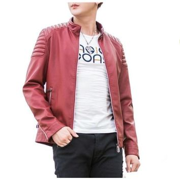 Mens Slim Fit Red Biker Faux Leather Jacket