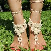 1 Pair Rose Crochet Barefoot Sandals Anklet Beach Wedding Dancing Ankle Bracelet