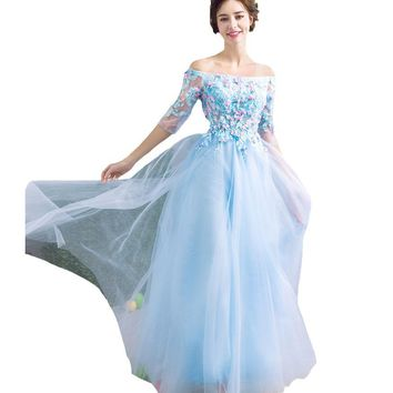 New Banquet Evening Dress Light Blue Lace Flower with Beading Romantic Half Sleeved Prom Party Gowns