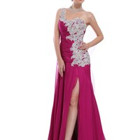 OnlyUsWedding Women's One-shoulder Silk Chiffon Long Slit Prom Gown