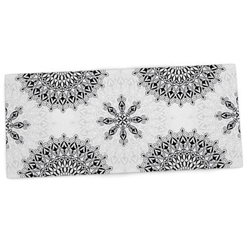 "Julia Grifol ""Black Mandala"" White Black Desk Mat"