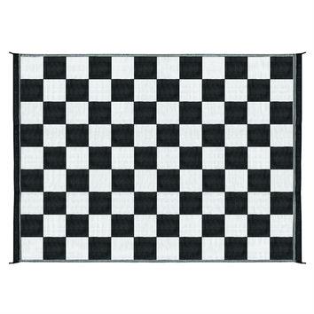 9' x 12' Reversible Outdoor Rug Mat in Black White Checkered Pattern