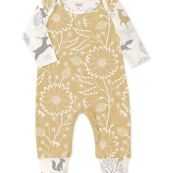 Tesa Babe Yellow & White Floral Deer Playsuit - Infant