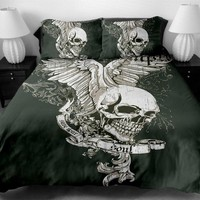 Skull Bedding Set 4 sizes skull Print Duvet Cover set with pillowcase