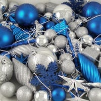 125 Christmas Ornaments - Blue And Silver