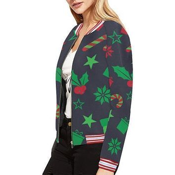Holiday Cheer Women's All Over Print Horizontal Stripes Jacket (Model H21)