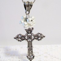 eBlueJay: Pearl Cluster Cross Pendant Necklace Jewelry