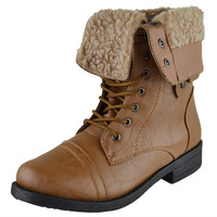 Womens Mid Calf Boots Fold Over Cuff Fur Lined Lace Up Combat Shoes Tan