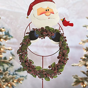 Jolly Cheerful Santa Claus Wreath Holder Yard Garden Stake