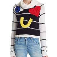Alice + Olivia Zita Eye Heart You Embellished Sweater | Bloomingdales's
