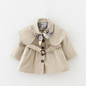 0-3T Spring Baby Trench Clothes Solid Brand Girls Coat Outfit Sport Clothing for infant Baby Girl High Quality Jacket 2017