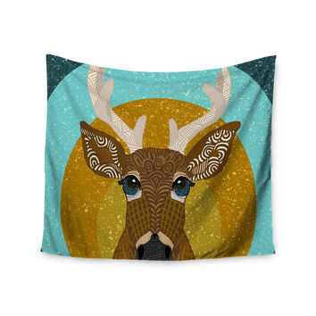 "Art Love Passion ""Stag in Grass"" Yellow Blue Wall Tapestry"