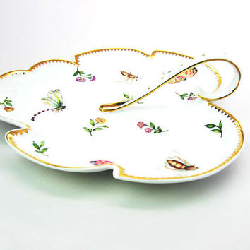 Leaf Serving Plate Handled Dish w/ Butterflies Insects Flowers. Gold Trim Nature Lovers Godinger Porcelain Vintage Shabby Chic Tableware