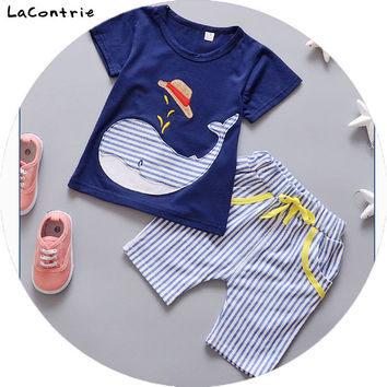 Safety Cosy Lacontrie 100% cotton Clothing for babies boy baby girl newborns whale Kids' things Clothes T-shirt + Shorts